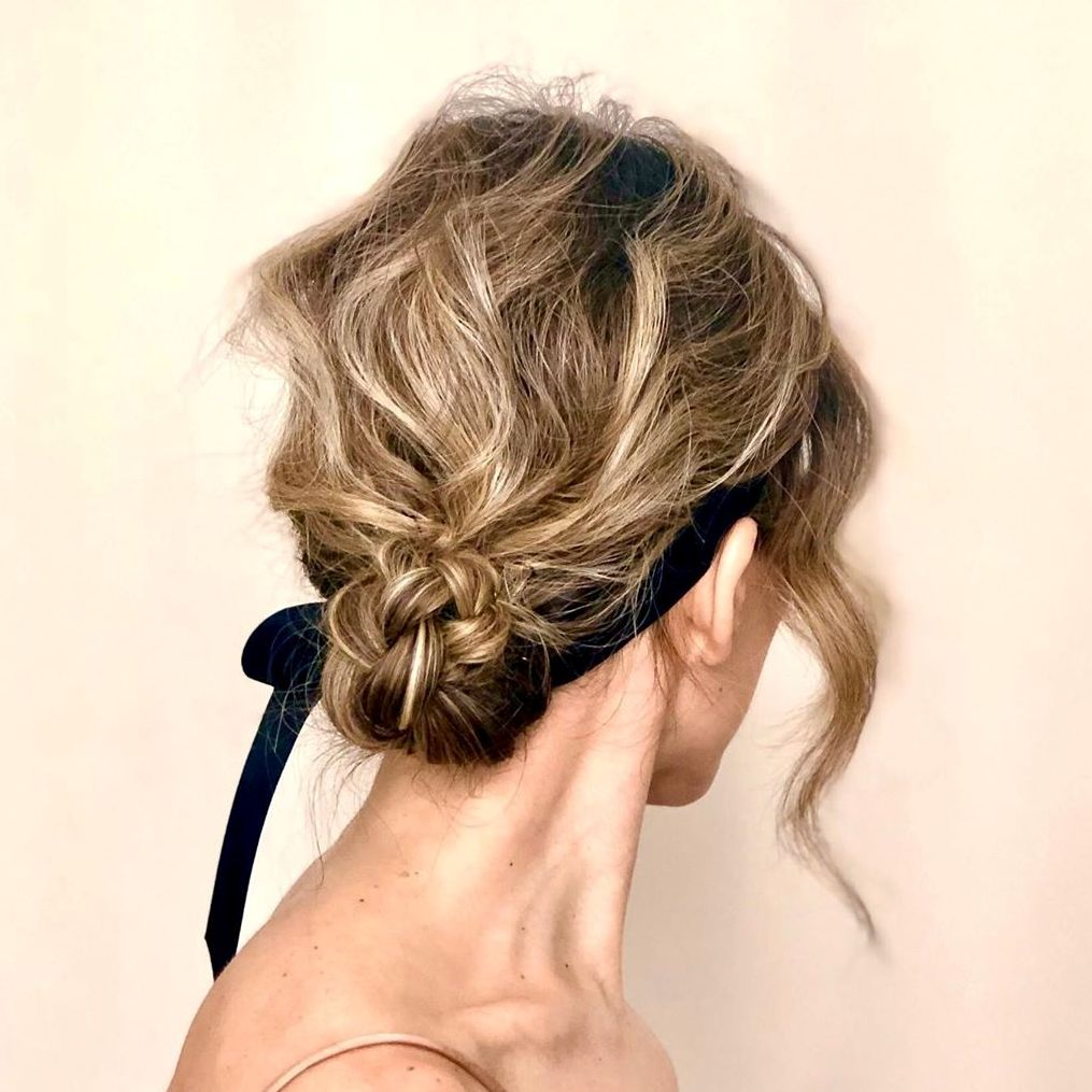 Short Low Messy Updo with a Headband