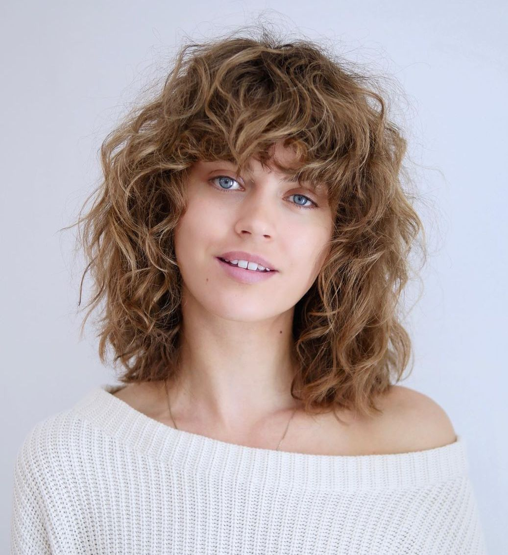 Curly Bangs for Round Faces