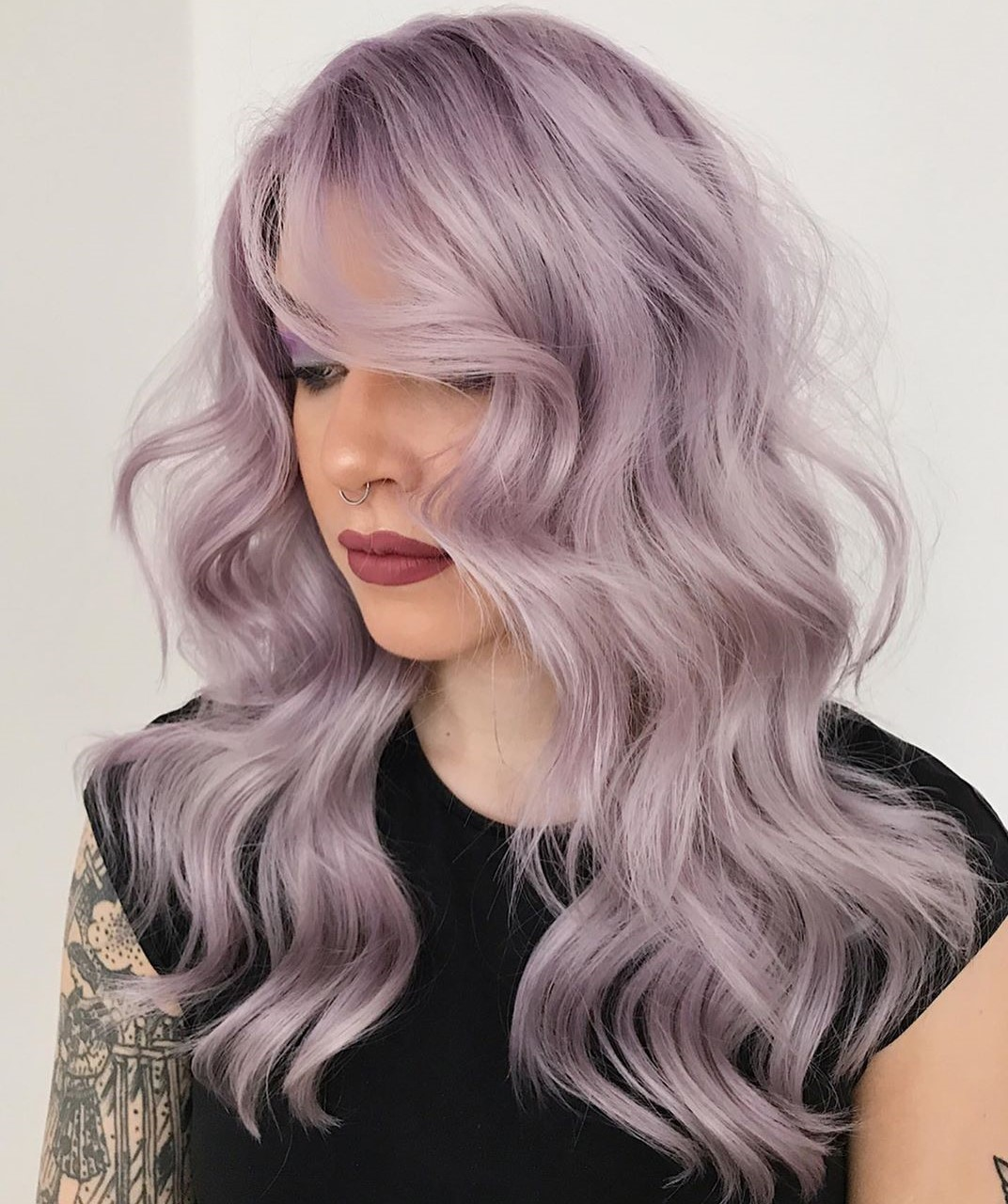 Lavender-Tinted Platinum Blonde Hairstyle