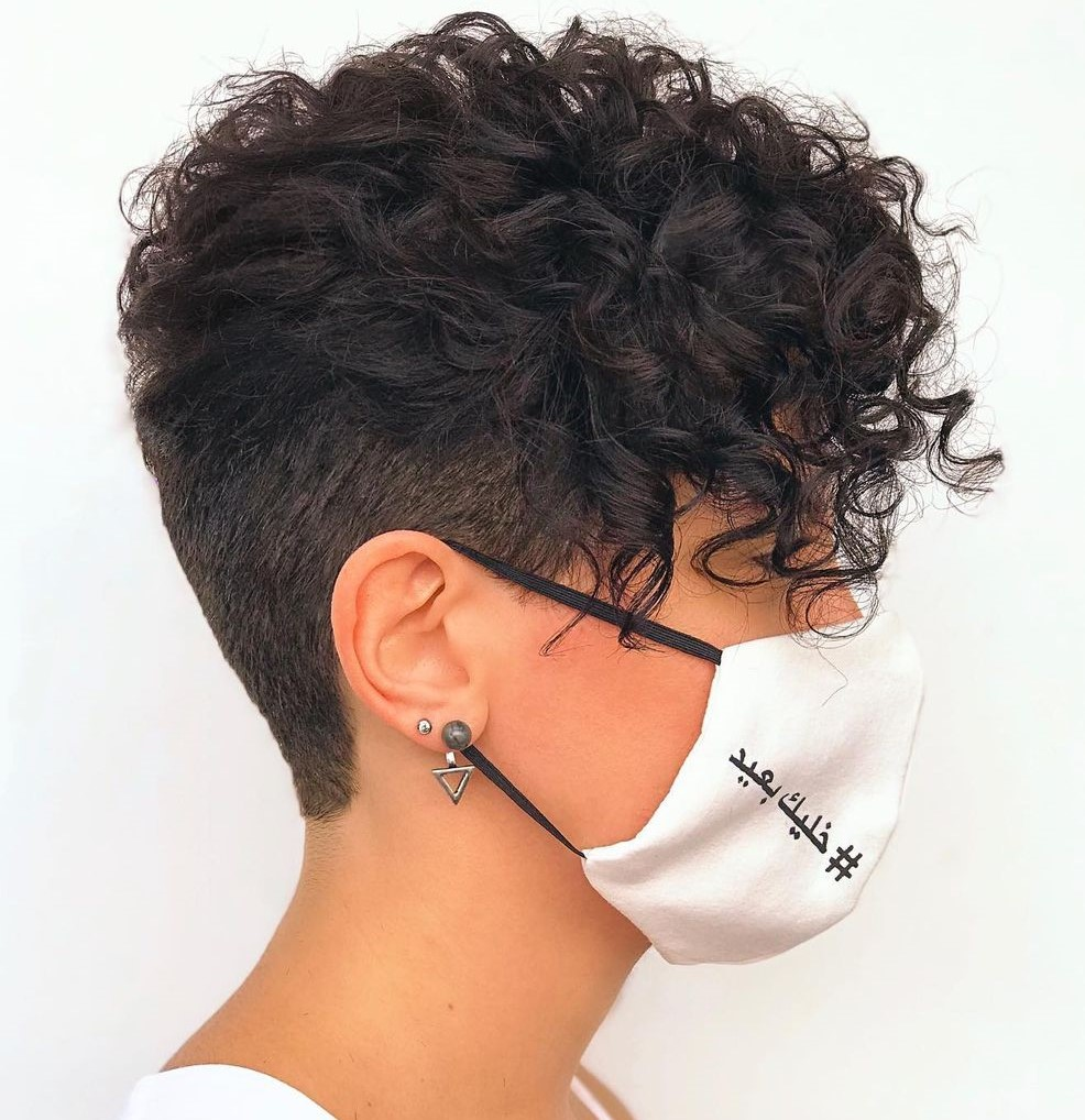 Short Shaved Back Hairstyle for Curly Hair