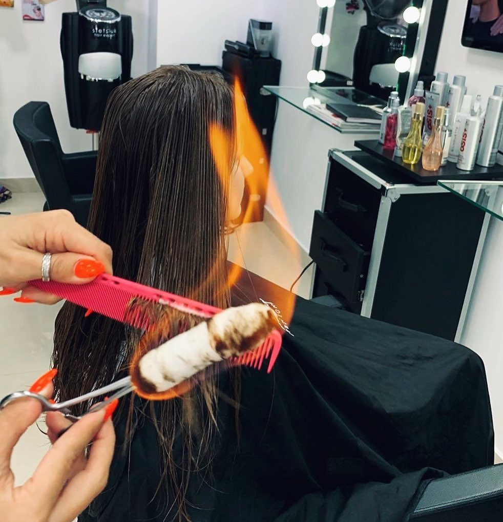 Cutting Split Ends with Fire