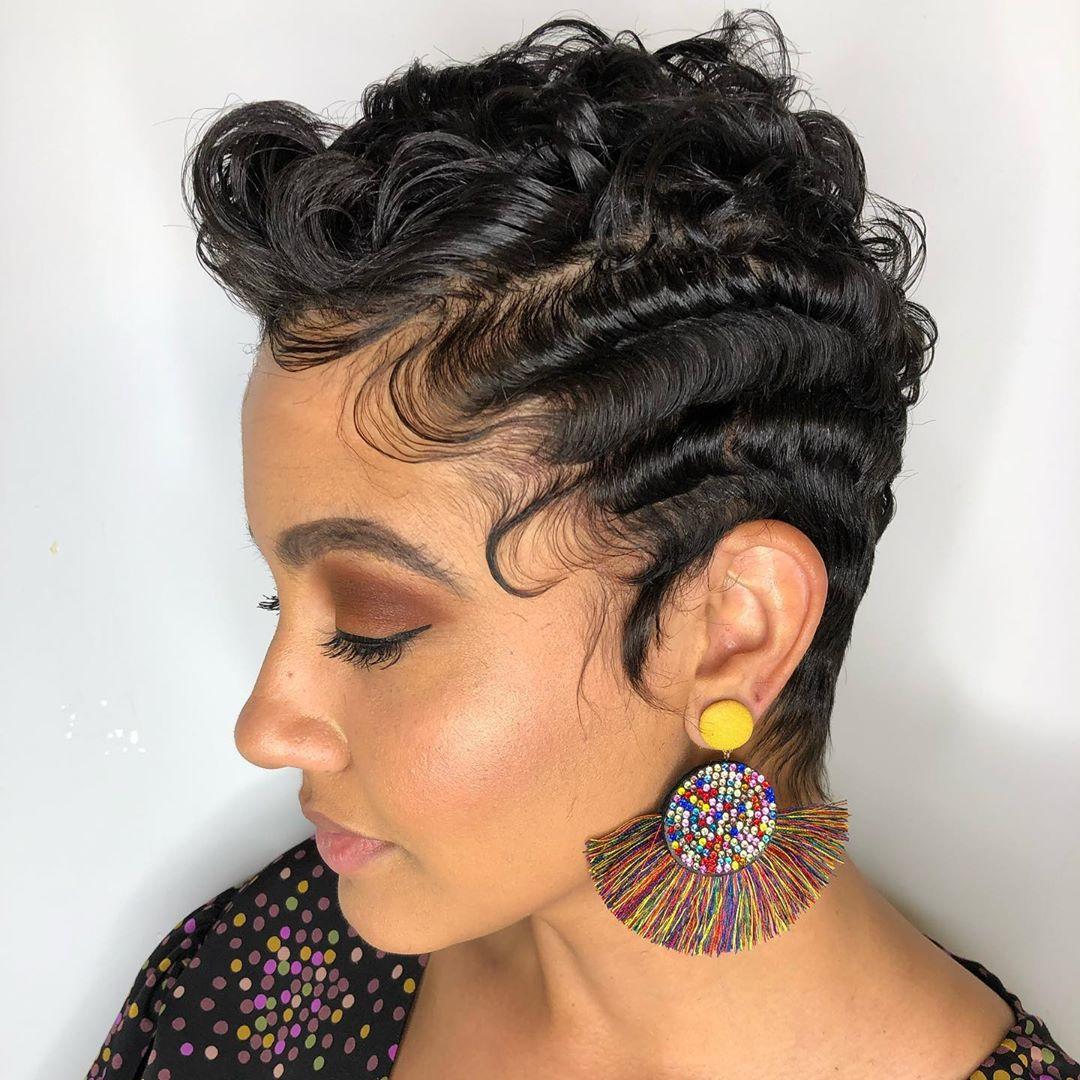 Black Curly Pixie Cut with Finger Curls
