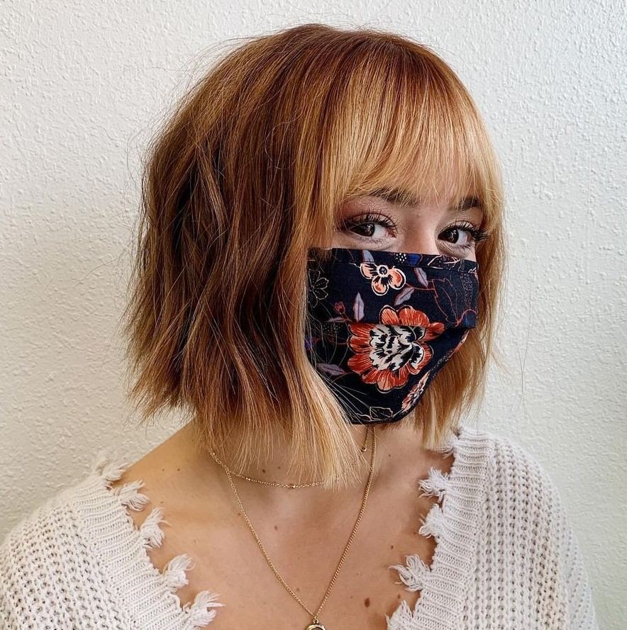 Red Wavy Bob with Bangs and Highlights