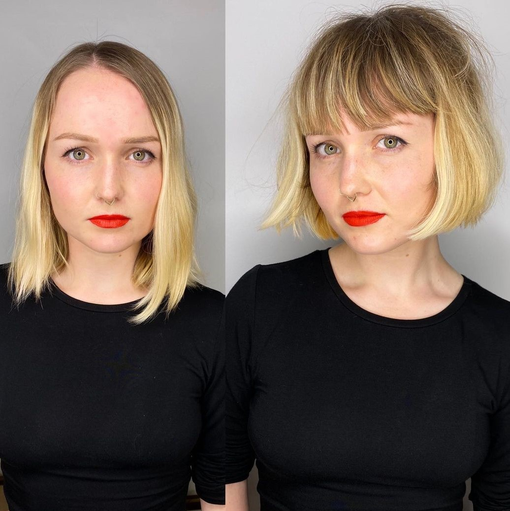 Piece-y Cropped Bob with Bangs