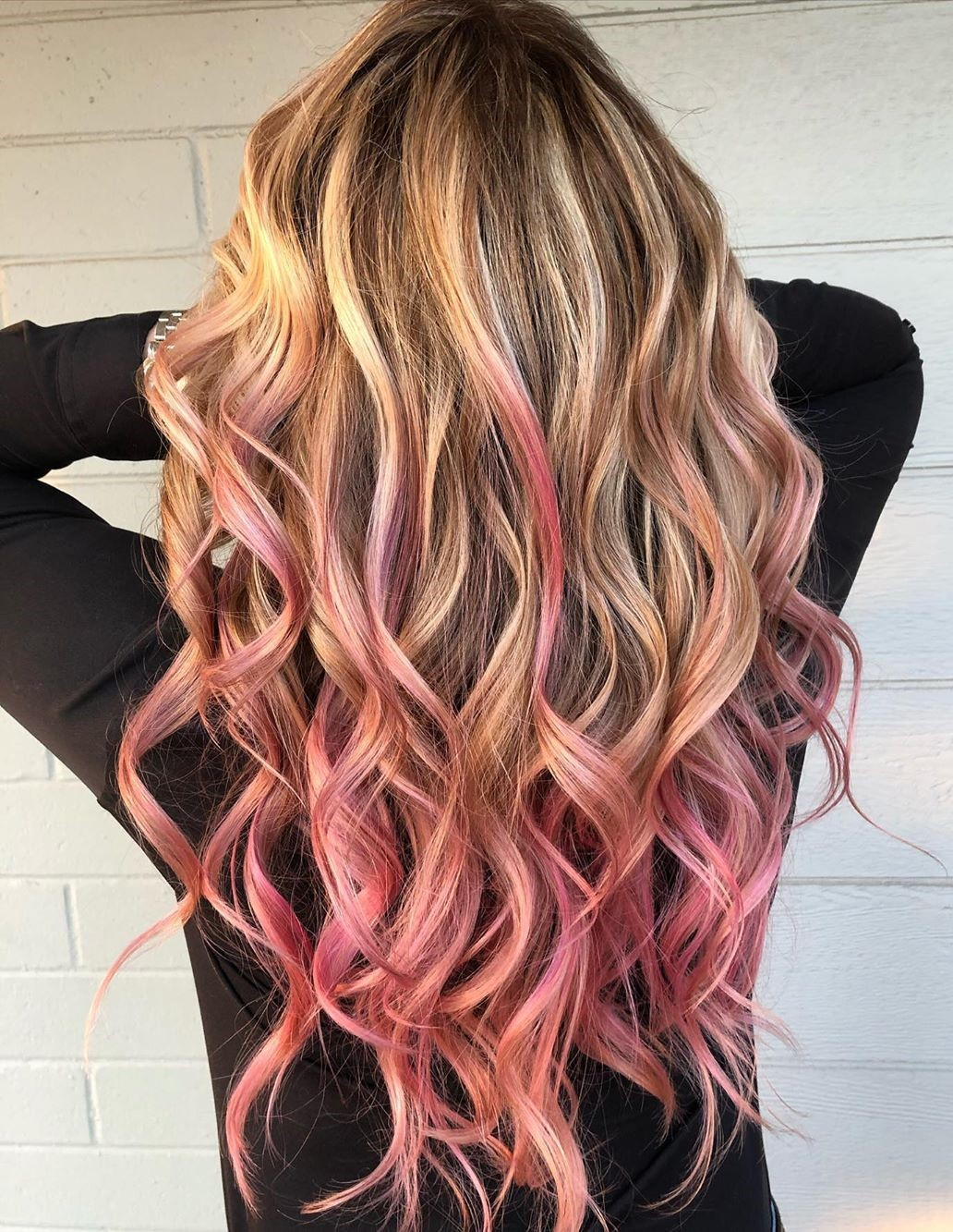 Long Blonde Hair with Pink Tips
