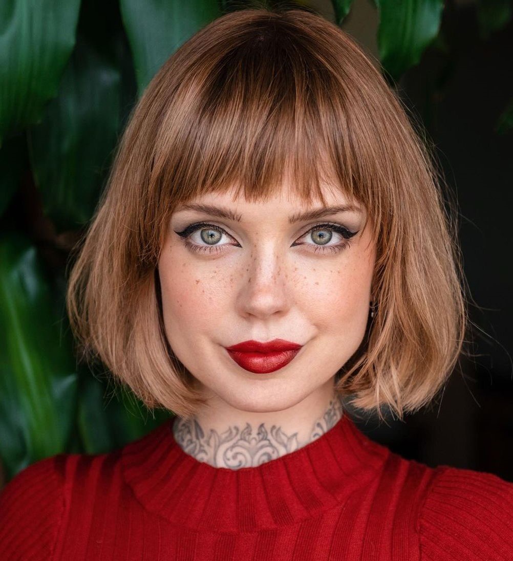 Sweet Messy Bob with Bangs