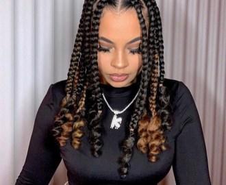 Triangular Goddess Box Braids with Curls