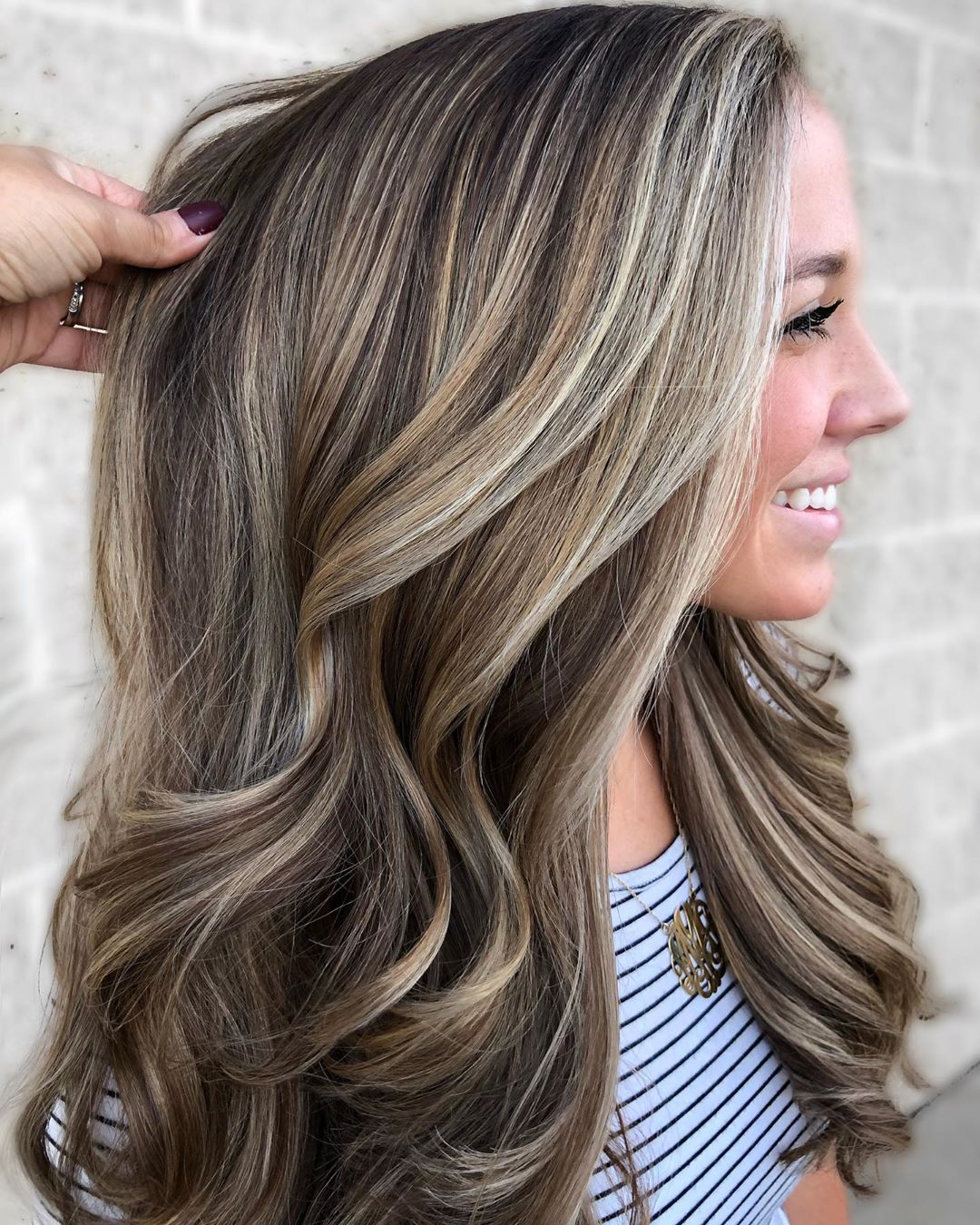 Long Brown and Ash Blonde Hair