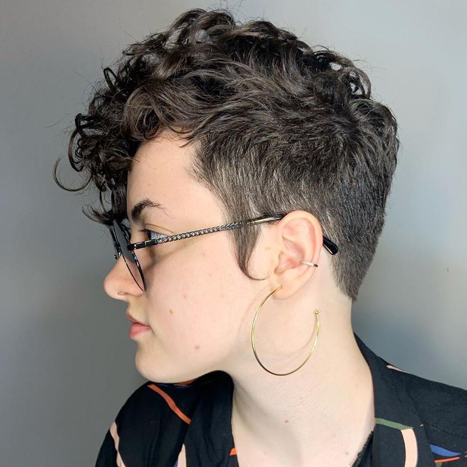 Short Asymmetrical Curly Pixie