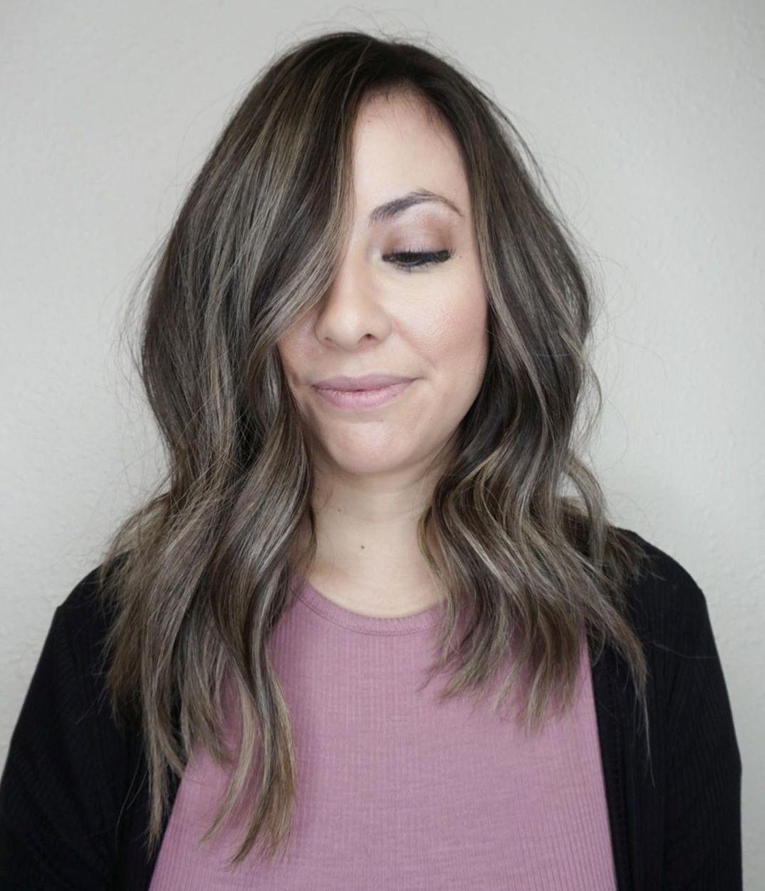 Dark Brown Hair with Subtle Ash Blonde Highlights