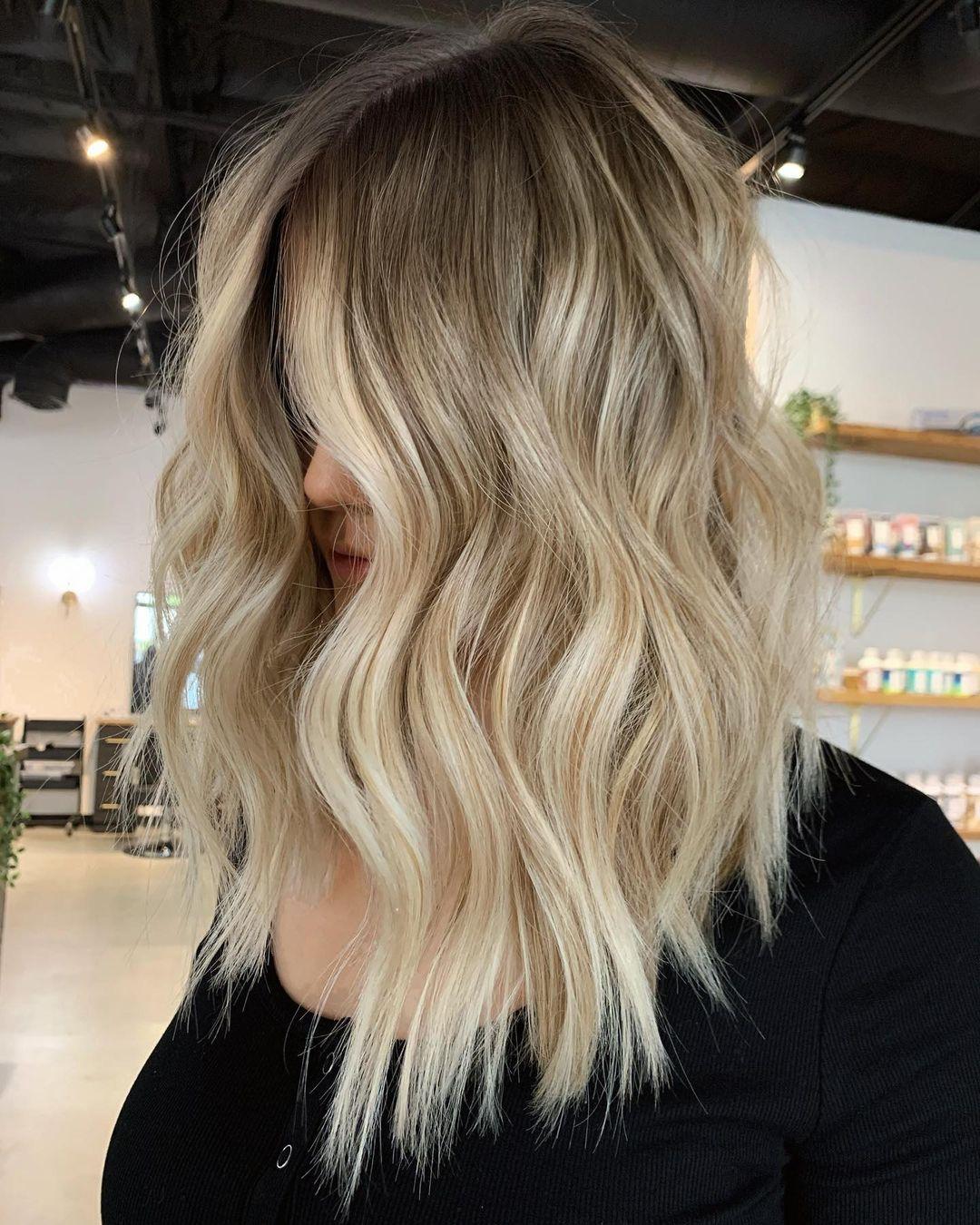 Rooted Blonde Balayage Lob