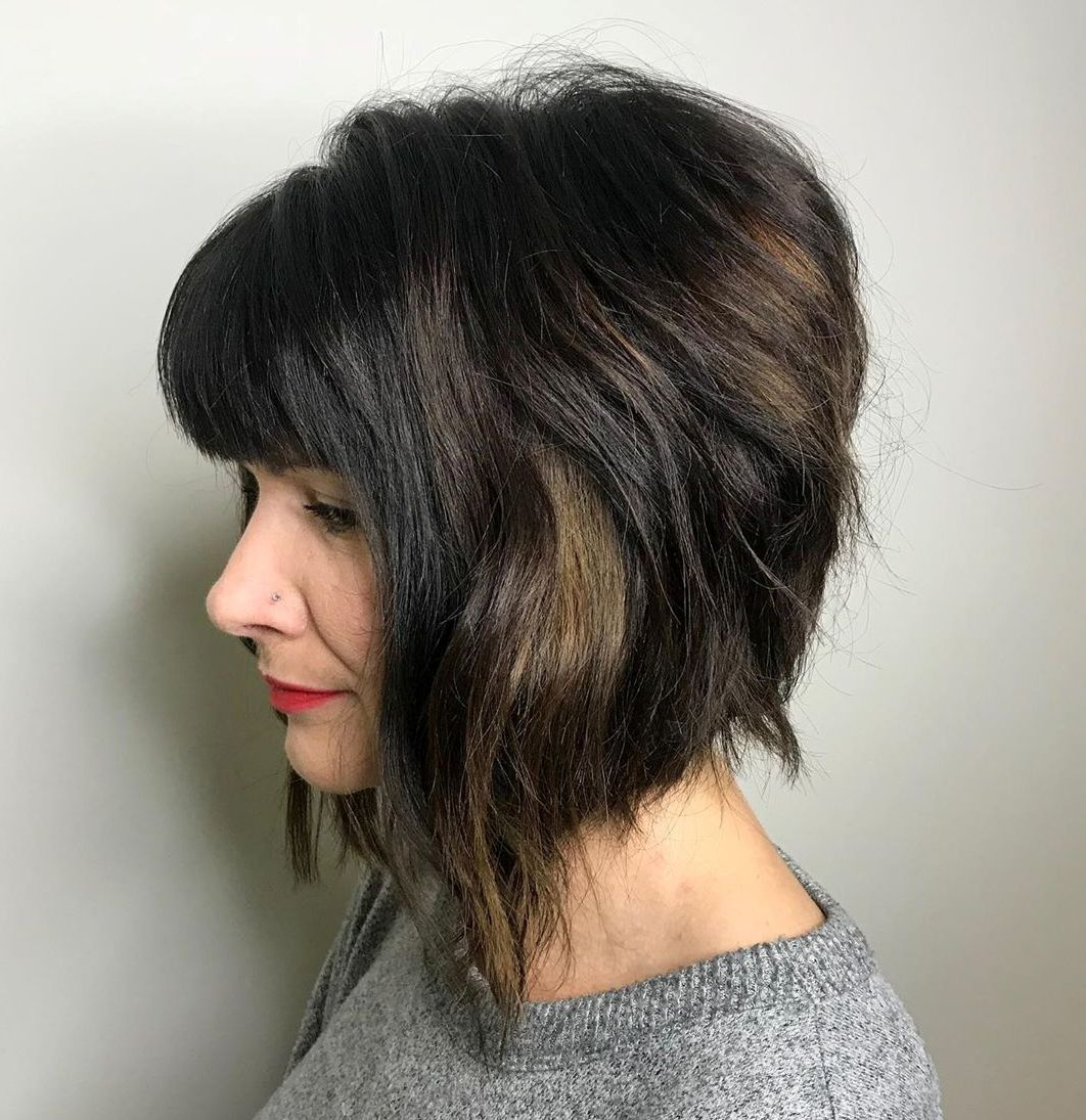 Shaggy Medium Inverted Bob with Bangs