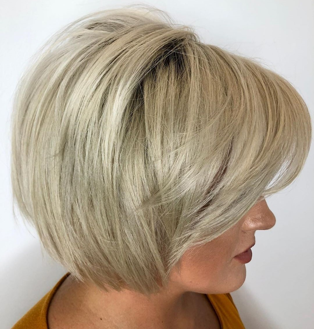 Voluminous Side Bangs for Short Bob
