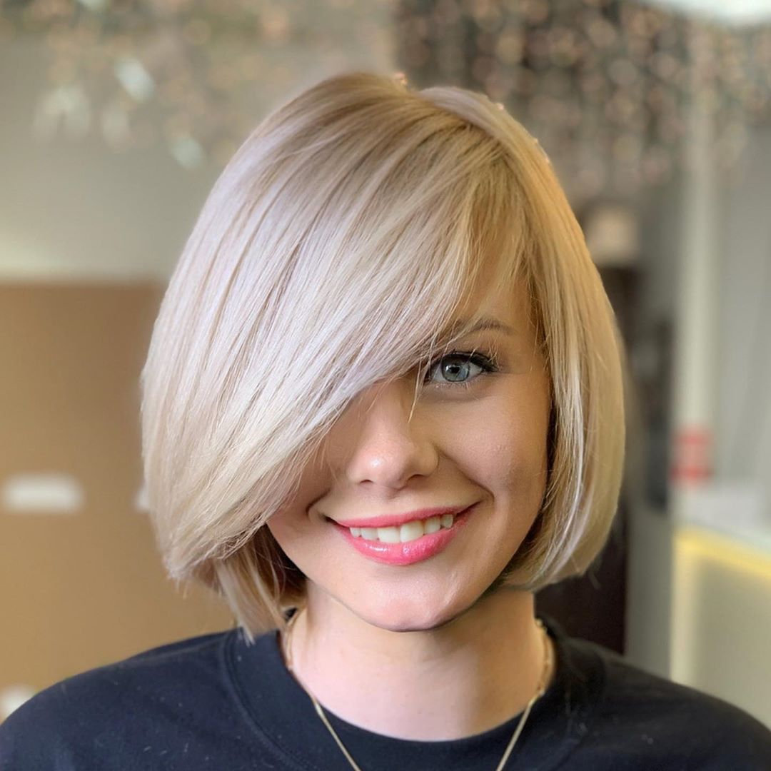 Chin-Length Bob with Side-Swept Bangs