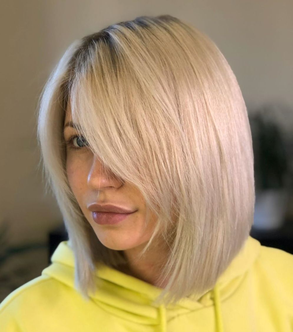 Blunt Bob with a Layered Side Fringe