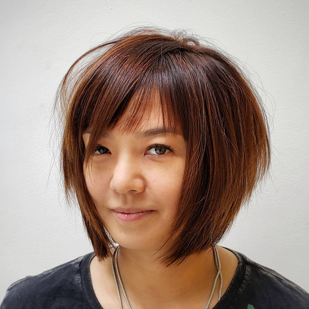 Straight Stacked Bob with Bangs