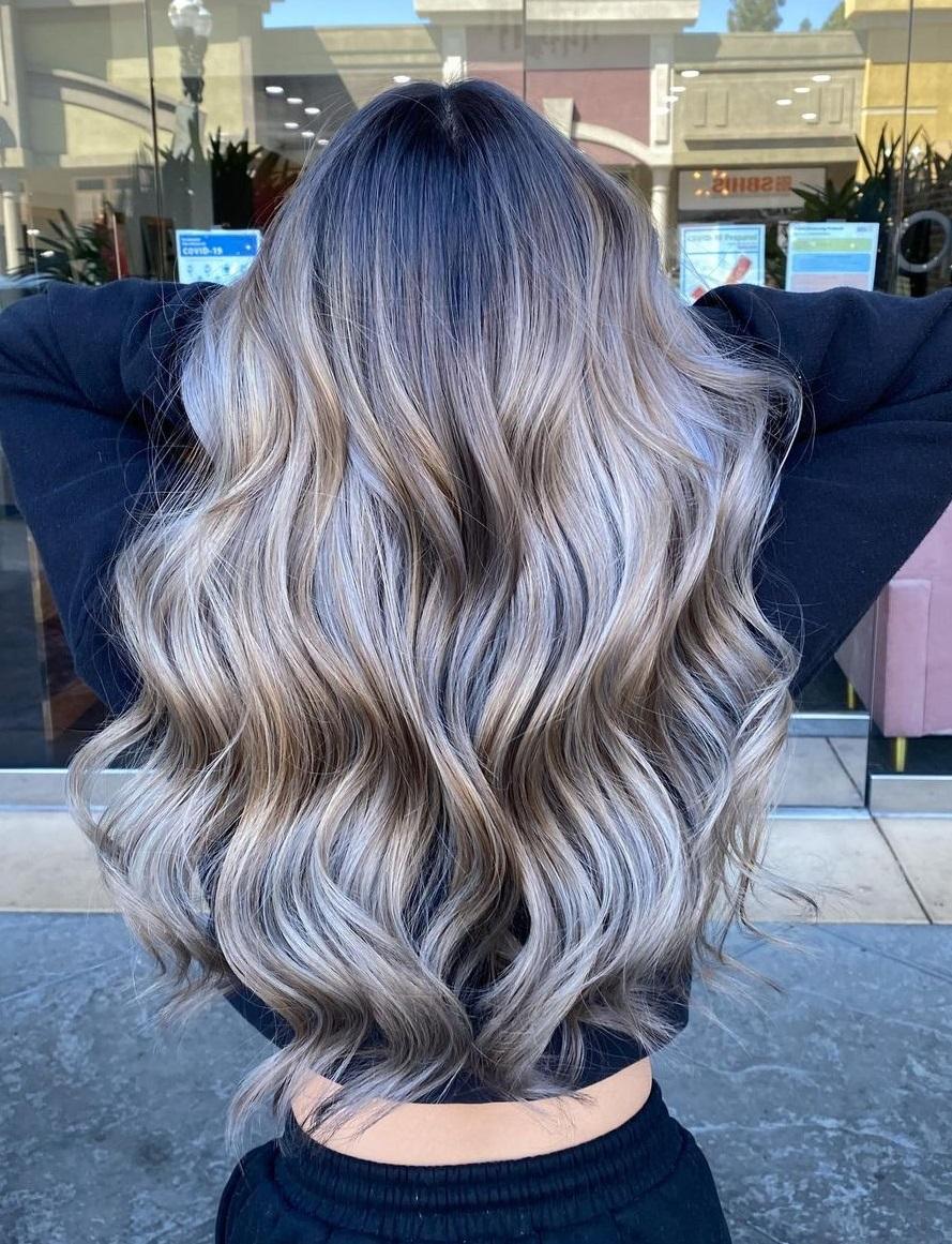 Smokey Ash Blonde Root Fade Hair
