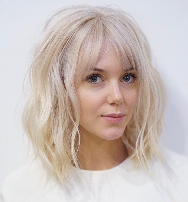 Long Blonde Bob Hairstyle with Bangs