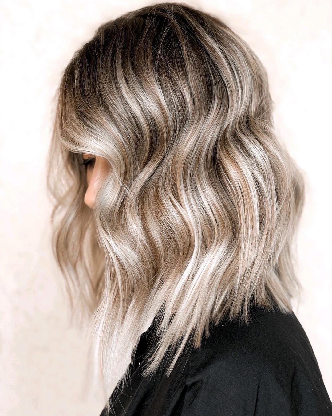 Ash Blonde Balayage Hair with Lowlights