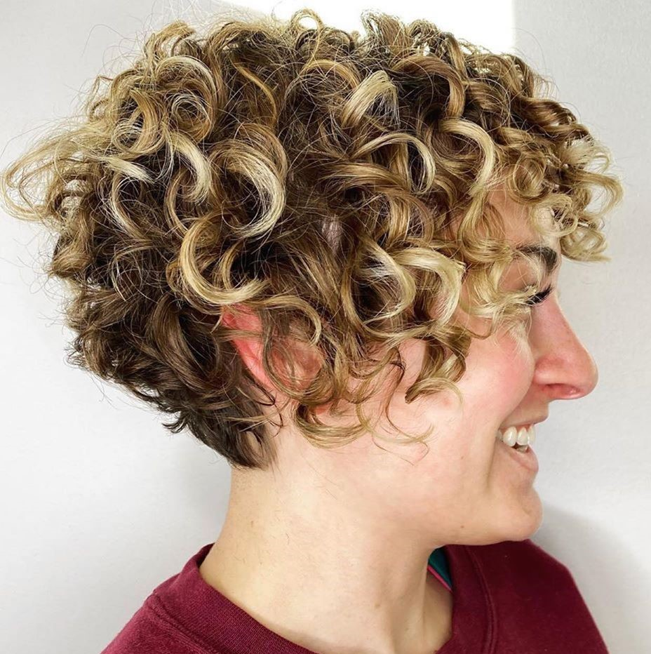 Blonde Balayage Curly Pixie Cut