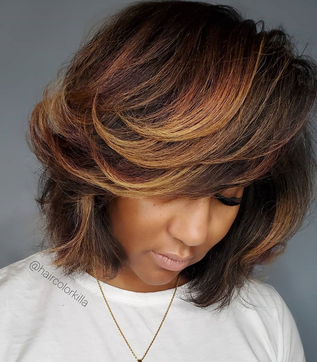 Dark Skin and Brown Hair with Highlights