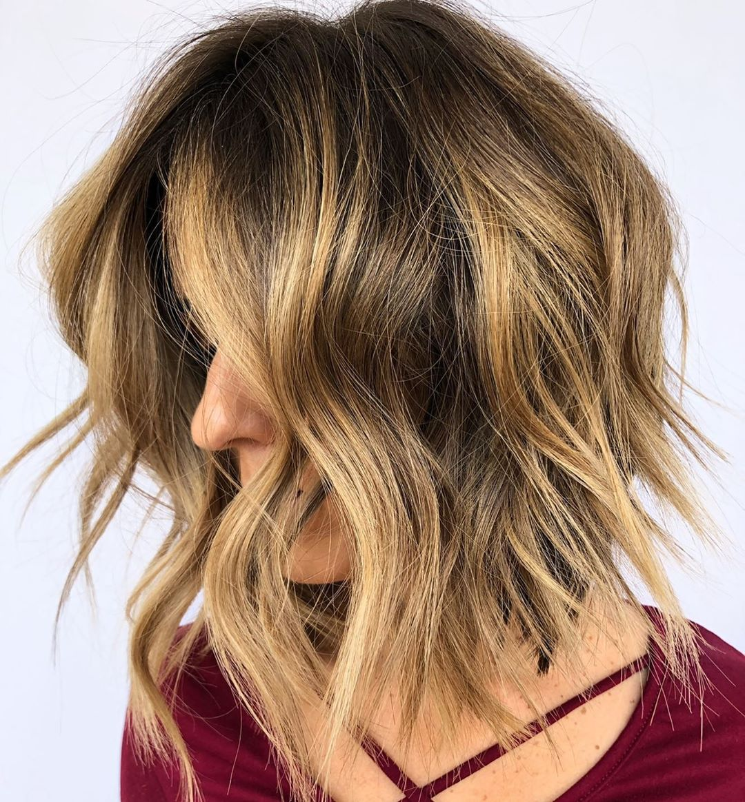 Shaggy Short Bob with Metallic Blonde Balayage