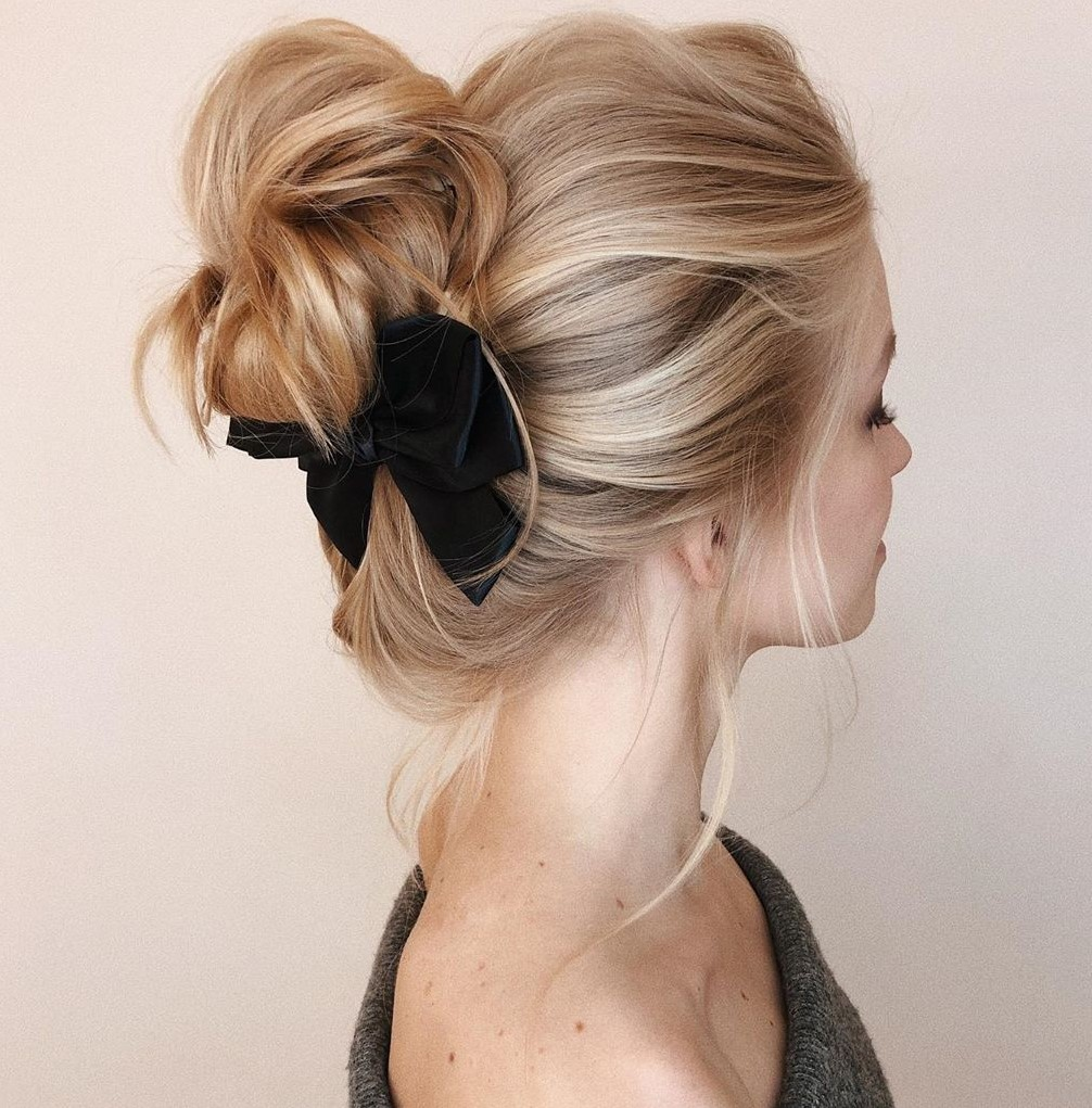 Loose Bun Updo with a Bow
