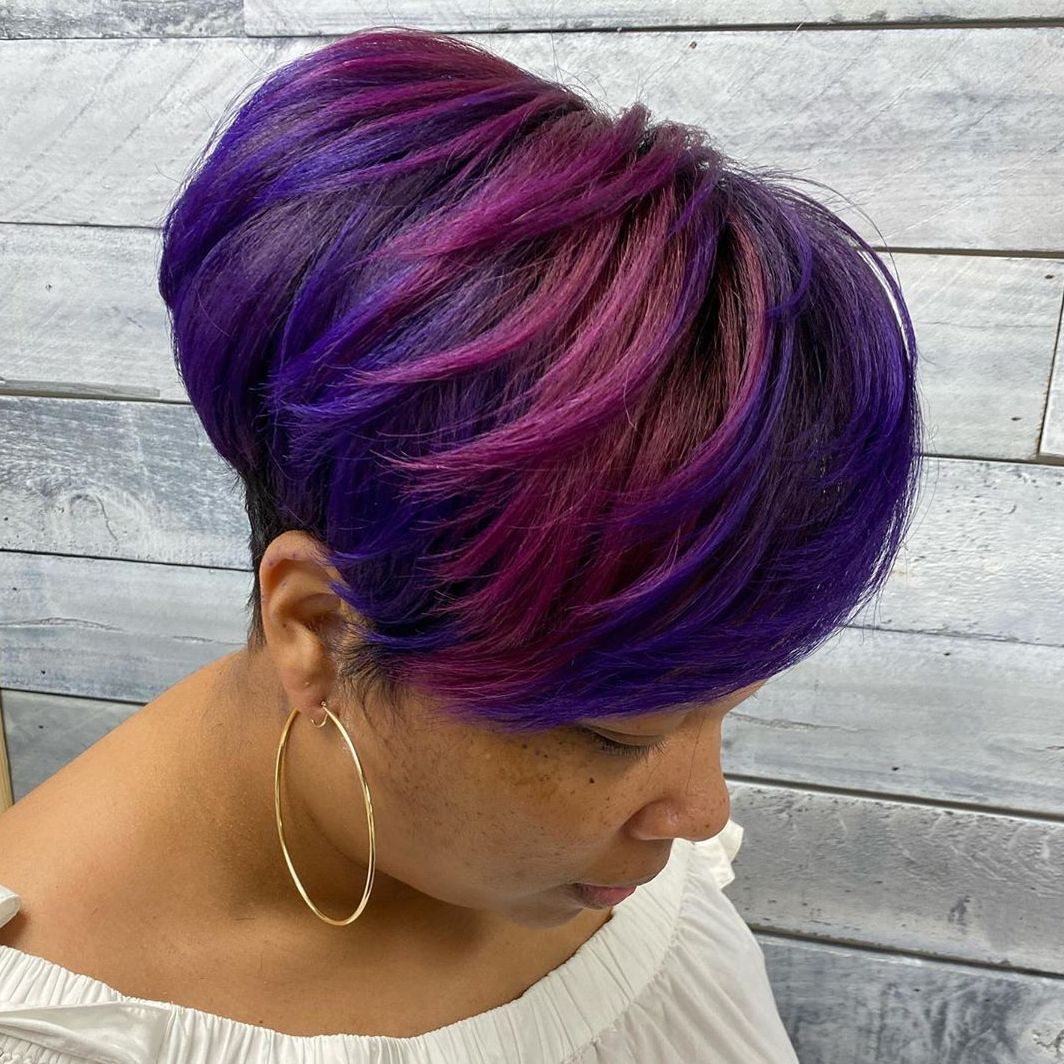 Pink and Purple Pixie Balayage for Light Brown Skin