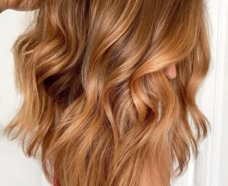 Bright Layered Salted Caramel Hair