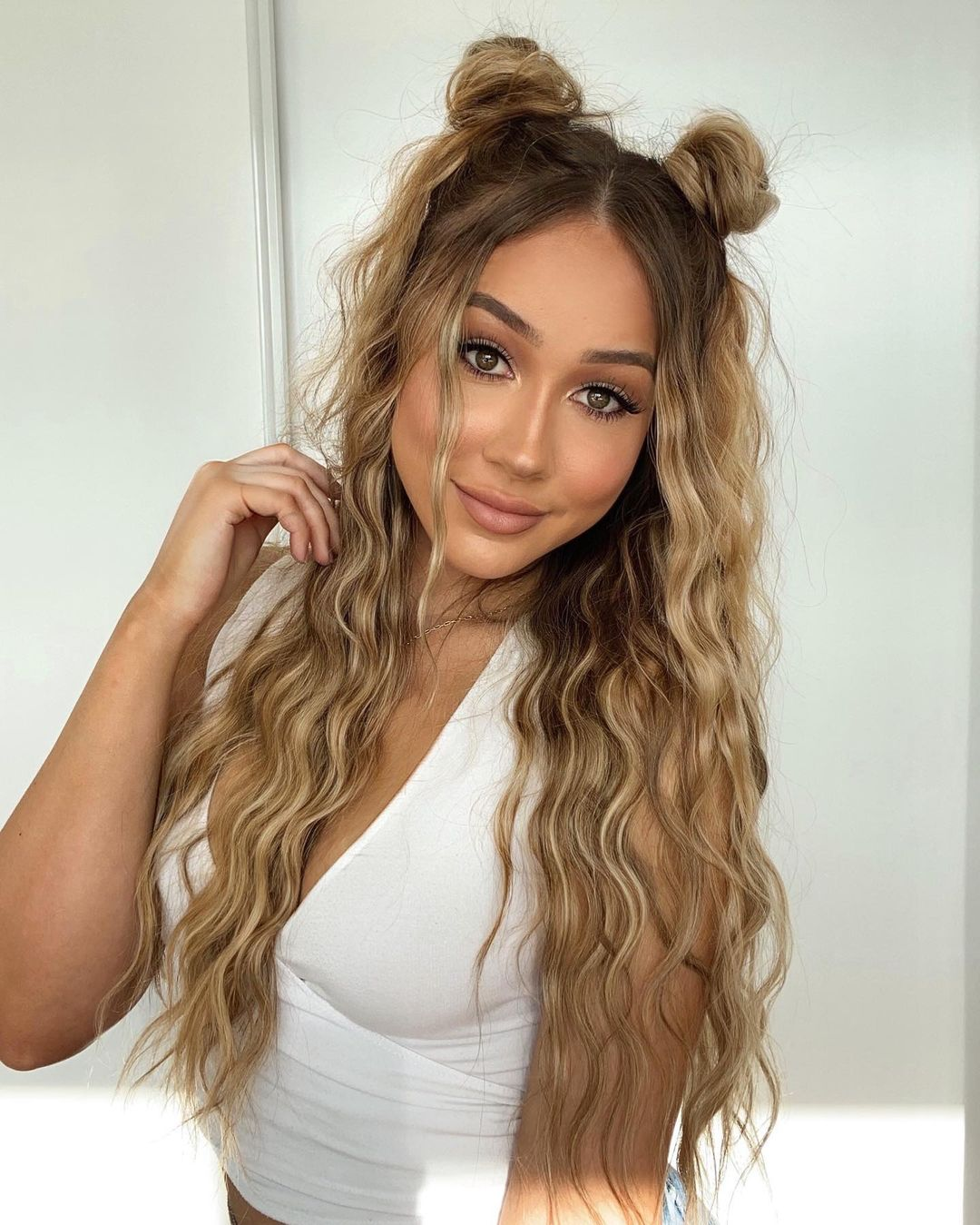 Long Hair with Half-Up Pigtail Buns