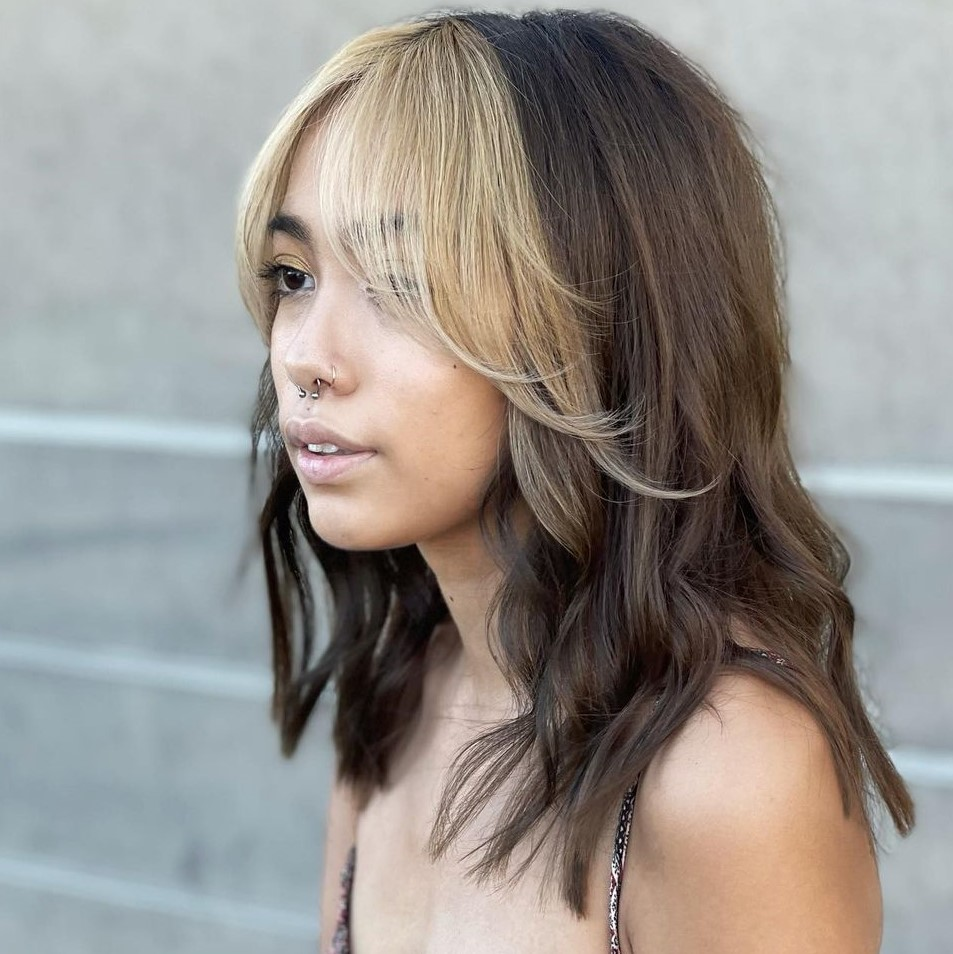 Medium Brown Hair with Money Piece Bangs