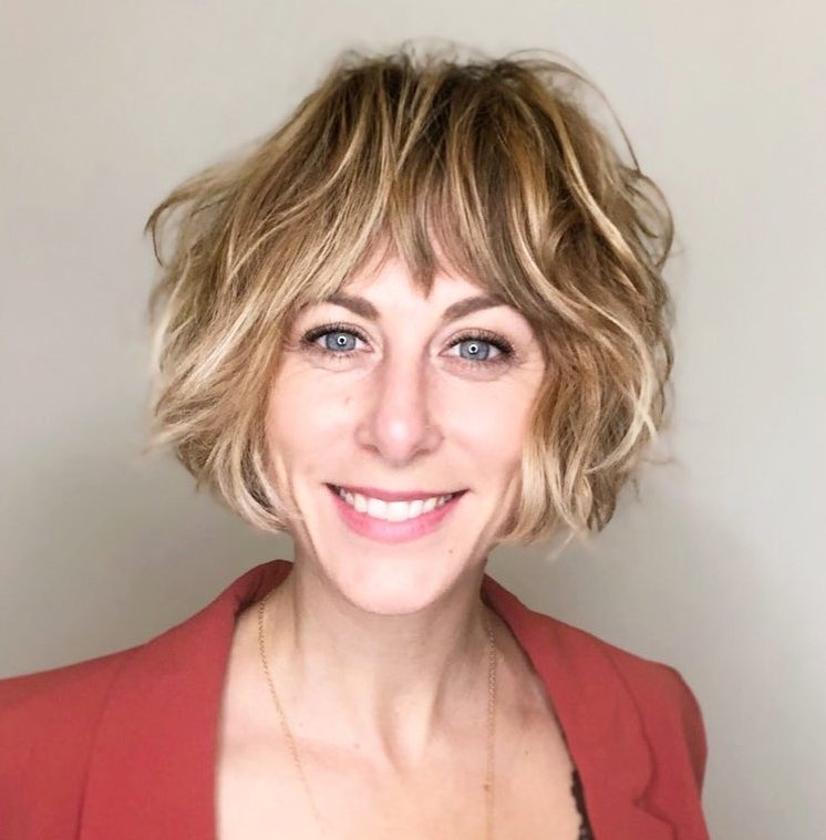Short Shaggy Haircut with Blonde Balayage