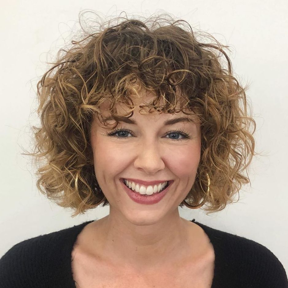 Short Curly Hair with Subtle Balayage