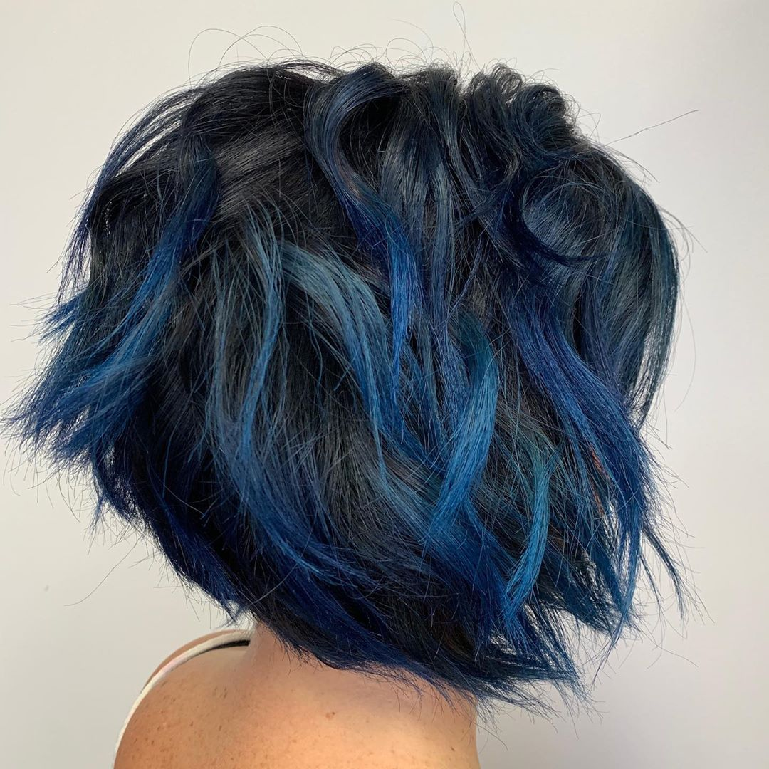 Short Black Hair with Blue Balayage