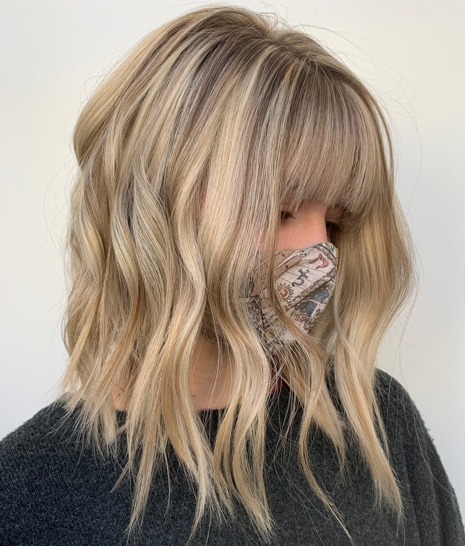 Soft Blonde Medium Hair with Bangs