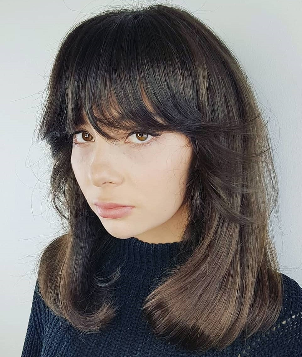 Medium Thick Hair with Feathered Bangs