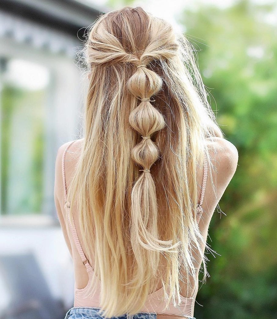 Half-Up Bubble Ponytail Braid