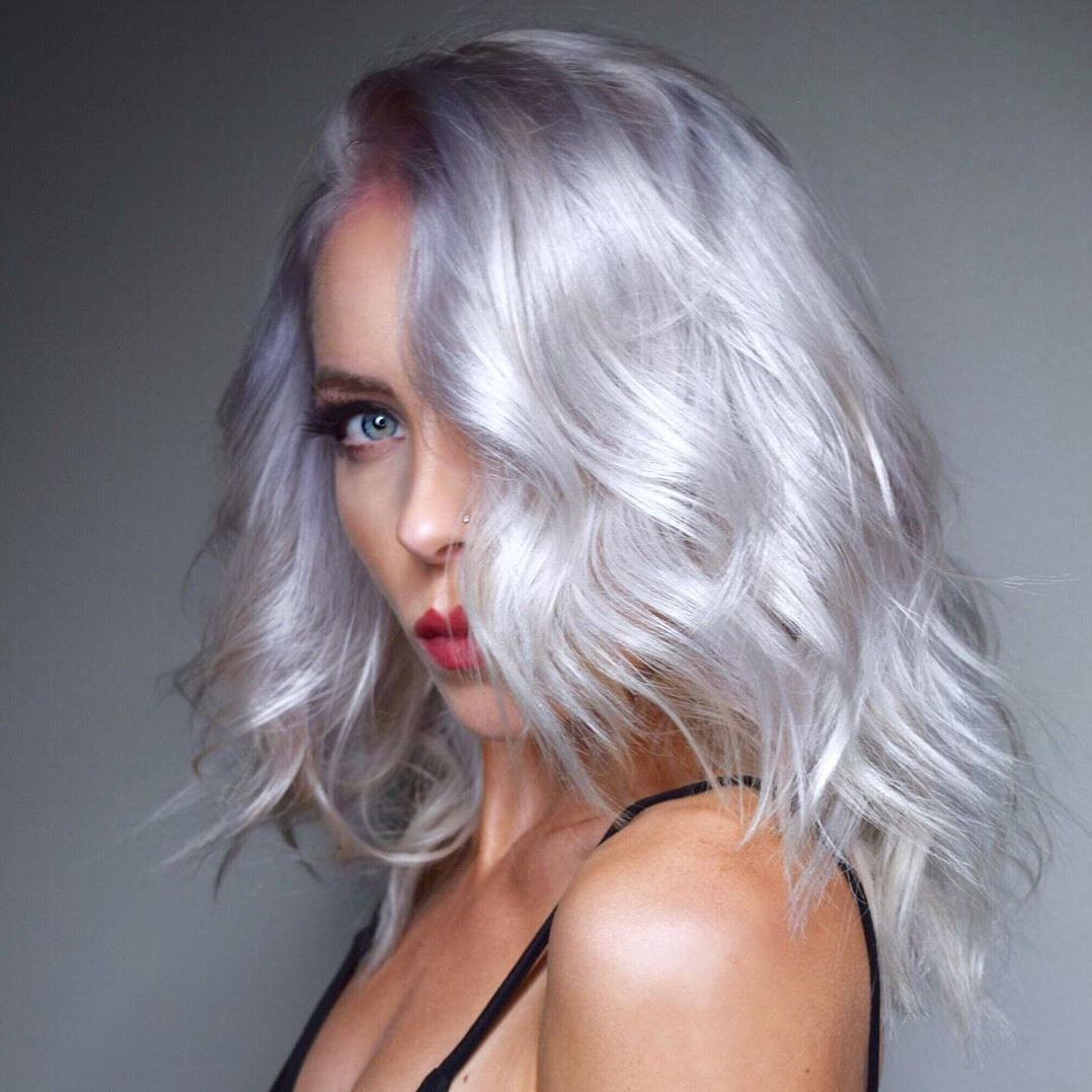 White Blonde Hair for Women with Blue Eyes