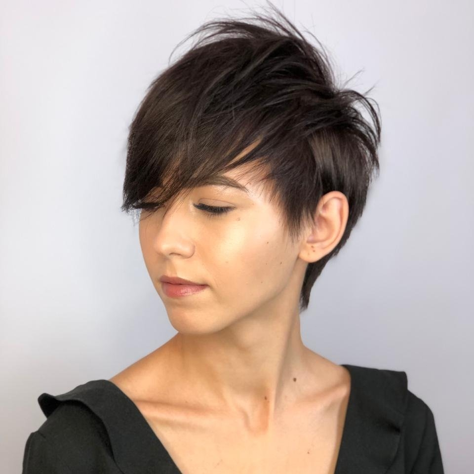 Short Black Hair with Long Bangs