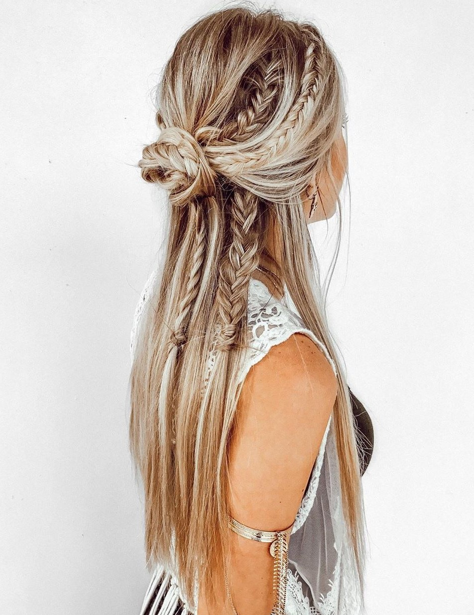 Braided Half Up Straight Hair with Braids