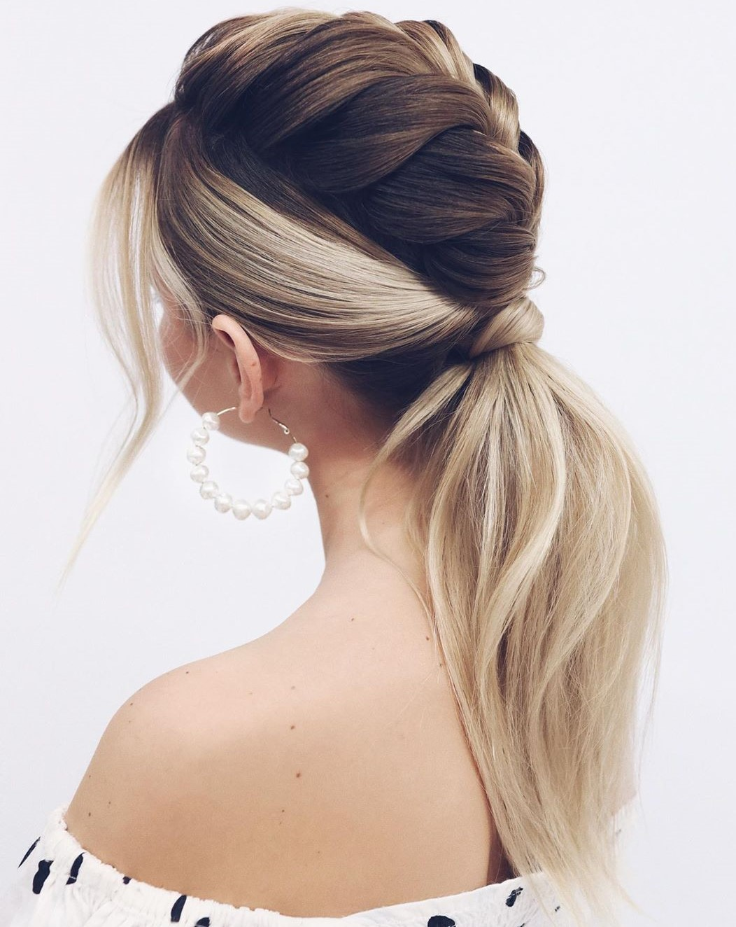 Braid and Ponytail Updo for Straight Hair