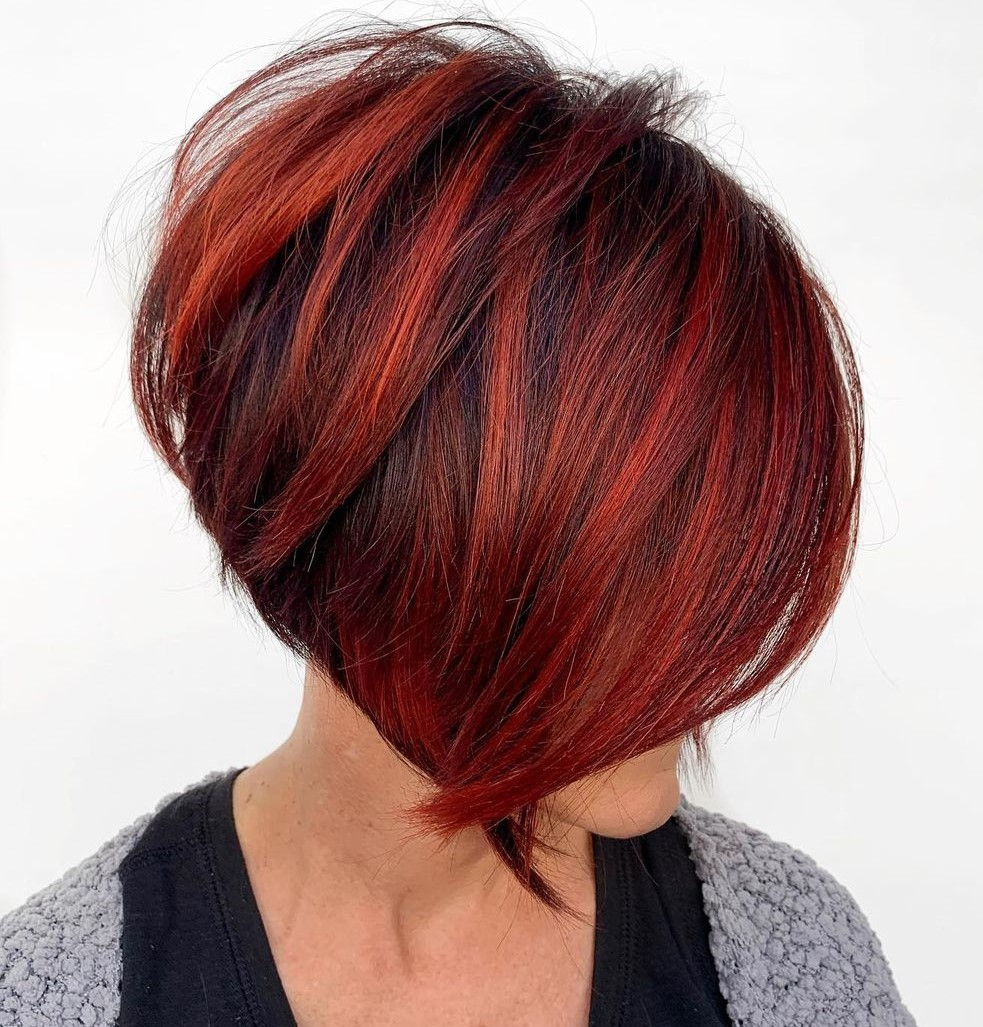 Stacked Bob Haircut with Bright Highlights
