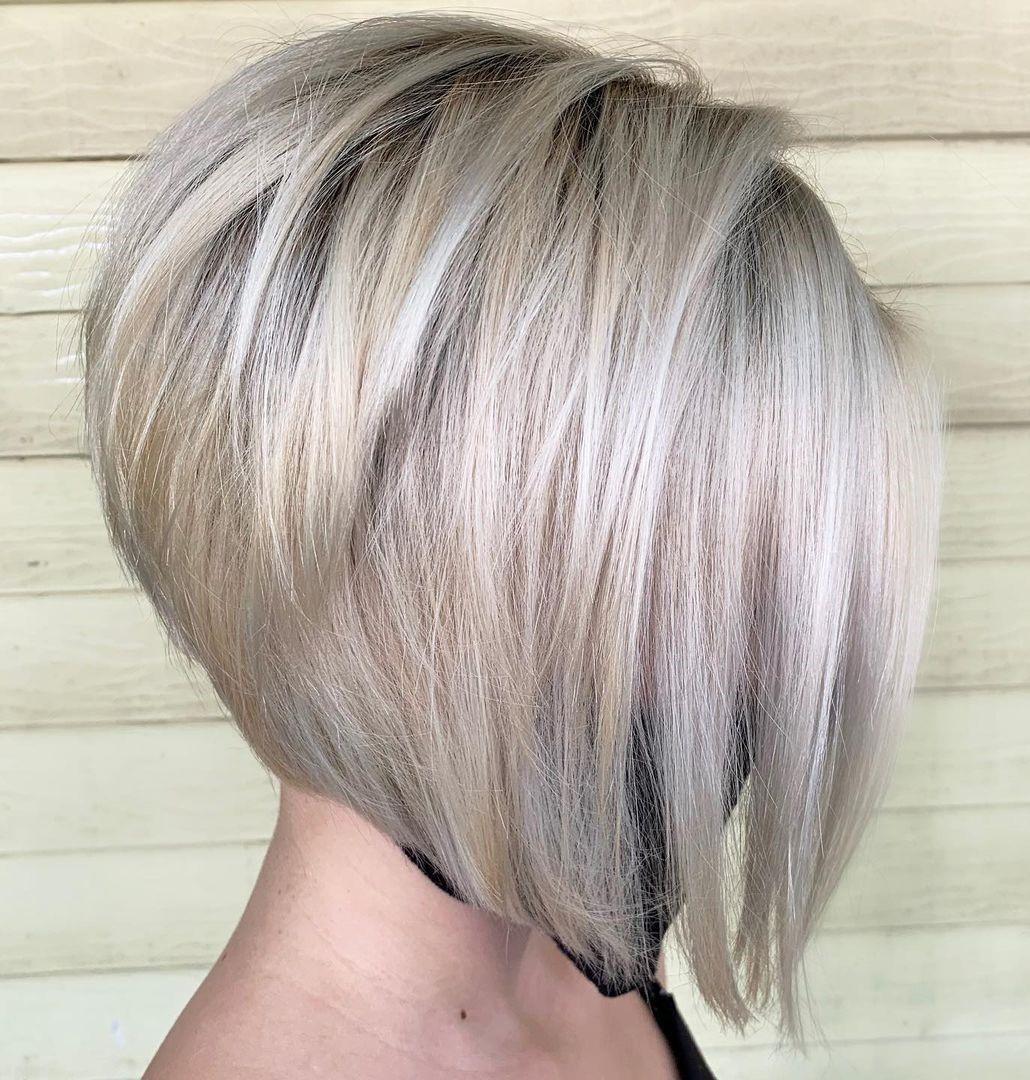 Platinum Blonde Short Stacked Bob Haircut
