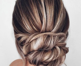 Wedding Low Twisted Bun Straight Hair Updo
