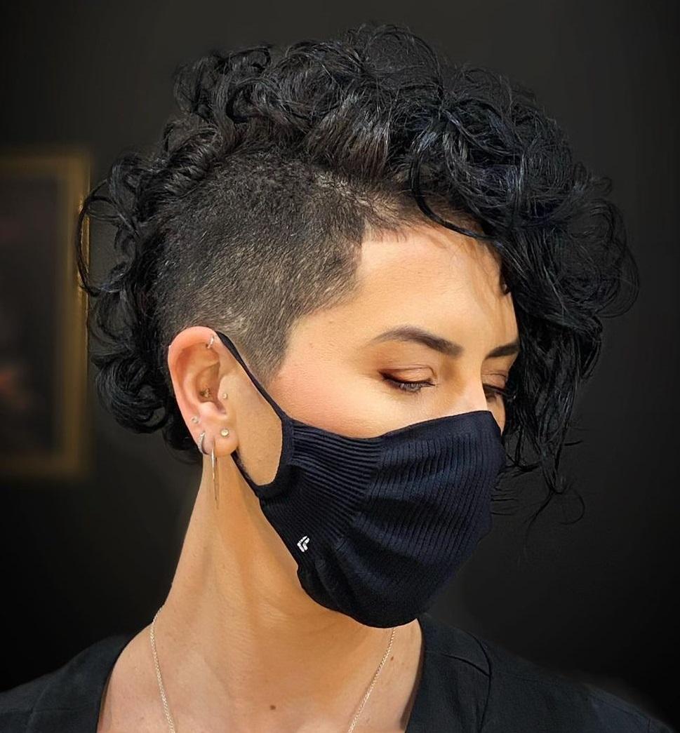 Women's Asymmetric Curly Undercut Hairstyle
