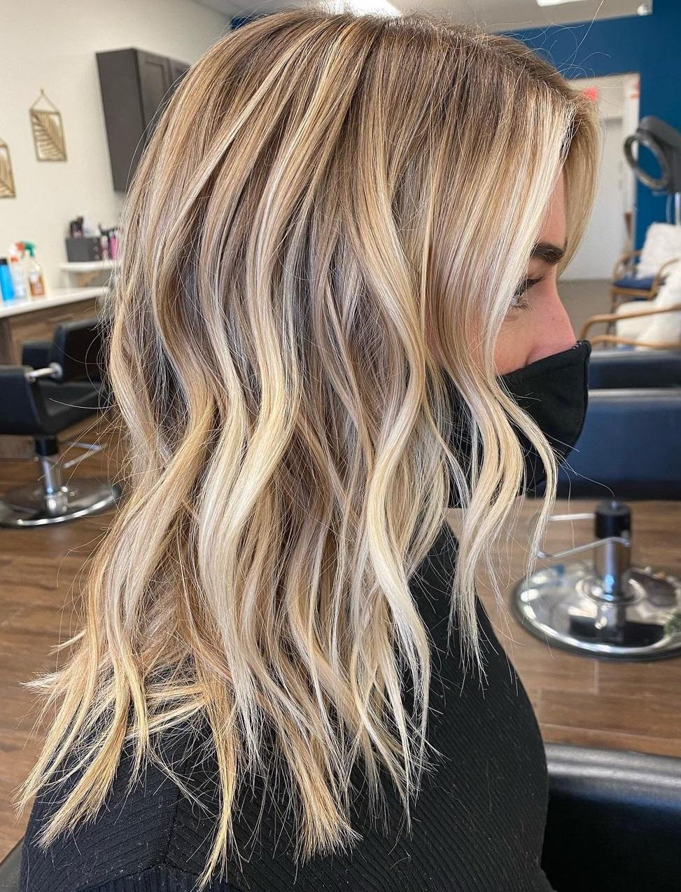 Choppy Cut with Warm Blonde Balayage