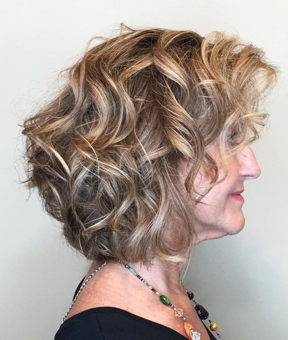 Wavy Bob with Highlights Over 60