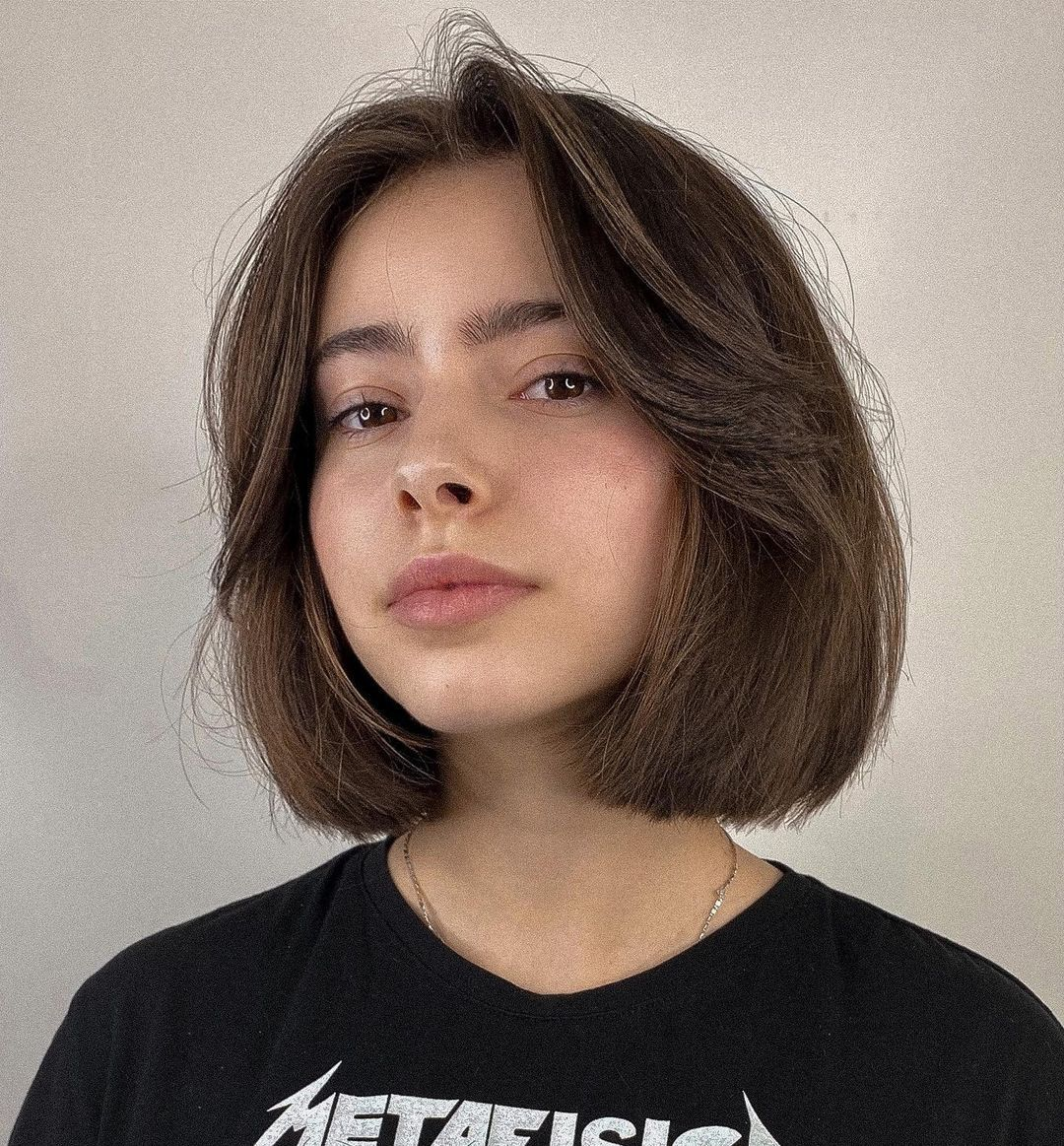 Elegant Blunt Bob with Curtain Bangs