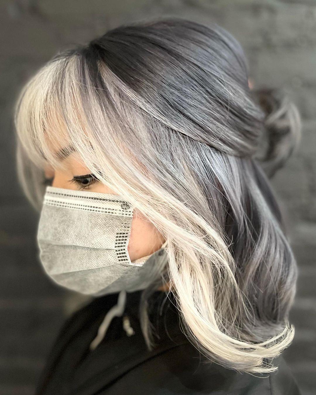Shoulder-Length Haircut for Gray Hair