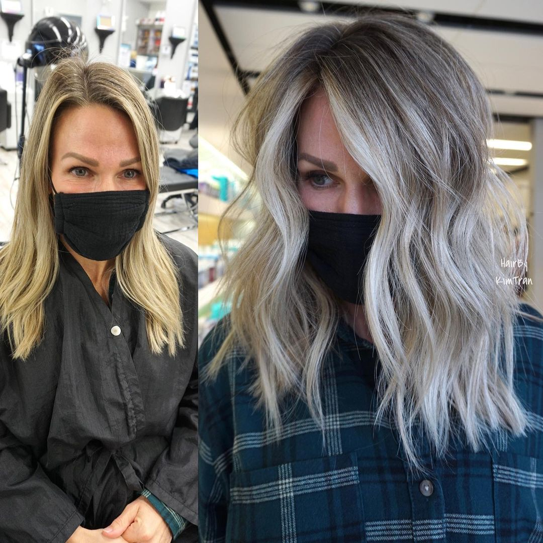 Blonde Hair with Silver and White Highlights